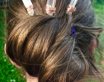 Set of 3aura quartz crystal hair pins, crystal hair pins, quartz bobby pin, crystal bobby pin, bridal hair pins, crystal headpiece