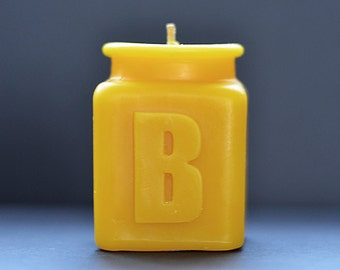 Handmade Personalized Letter B Monogram Beeswax Candle, Table Number, All Letters and Numbers Available