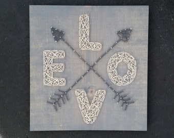 Made to Order String Art Love with Arrows Sign