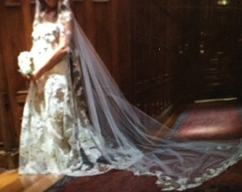 Ivory Lace bridal gown with hand embroidered