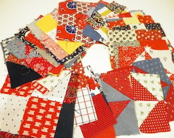 40 Red And Blue Patchwork Quilting Squares Sewing Supplies Vintage Fabric