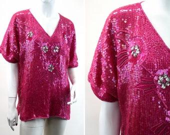 Pink Sequin Vintage Blouse Fits Sizes M/L