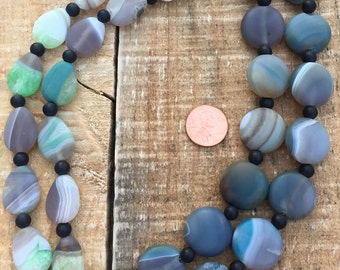 Matte Gray, Green banded Agate stone beads 20mm coins or 15 x 20mm teardrops 8 inch strand alternating with 6mm round beads