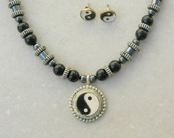 NEW SALE - 50% off, Yin-Yang Pendant & Earrings, Hematite and Black Onyx Beads, Striped Lucite Disks, Choker Necklace Set by SandraDesigns