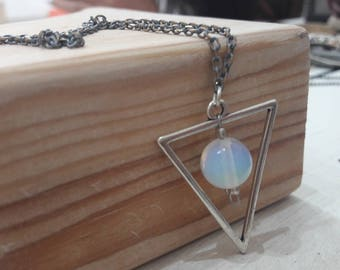 Silver triangle Long chain triangle Long silver triangle Long triangle chain Long silver necklace Silver long triangle Moonstone pendant