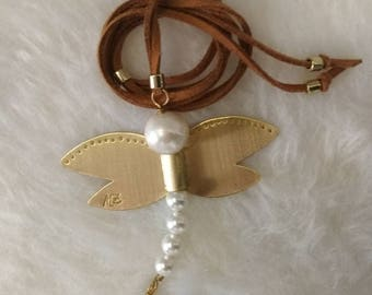 Necklace. Bronze dragonfly pendant with natural stones. Height-Adjustable.
