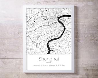 Shanghai City Map Wall Art Prints