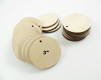 """Wood Circle Earring Blanks Pendant 3"""" (7.6cm) x 1/8"""" (.3cm) Thick Laser Cut Wood Shapes - 12 Pieces"""