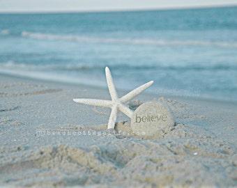 BELIEVE / Starfish Stone Sand BEACH COASTAL Living Inspirational Affirmation Mantra House Wall Art Photography Pastel Neutral Seaside
