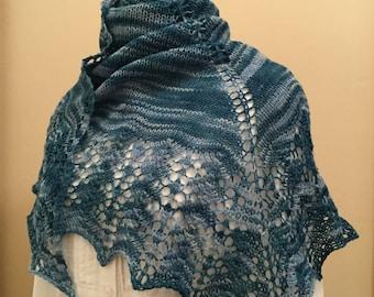 Hand knit shawl, shawlette, scarf, blue, merino wool