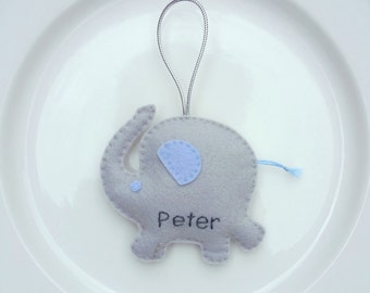 Elephant Personalized Felt Christmas Handmade Ornament