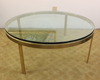 Mid Century Modern brass and glass coffee table   Gre-Stuff