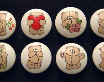 FOREVER FRIENDS - BEARS -  Design - Set of 8 Hand Painted Wooden Knobs
