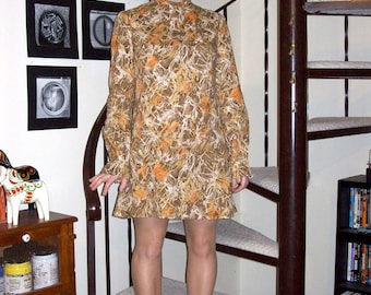 Vintage long sleeved mini-dress - medium