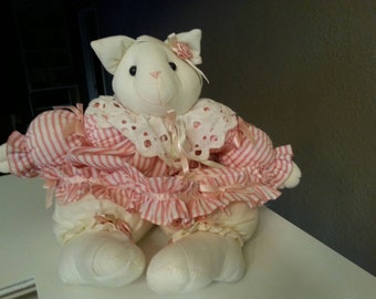 Vintage Shabby Chic Cloth Cat