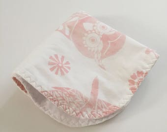 custom baby lovey/blanket ~ blush pink mckenna owl ~ chic couture~ baby accessories~ custom baby lovey/blanket from lillybelle designs