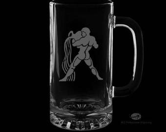 16 Ounce Aquarius Personalized Beer Mug