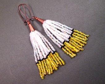 Tassel Earrings, White Yellow and Black, Ombre Glass Seed Beaded Fringe Earrings, Copper Dangle Earrings, FREE Shipping U.S.