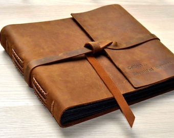 Photo Album,Rustic Leather Photo Album, Scrapbook Style Pages, Genuine Leather Scrapbook Album,Gifts for him