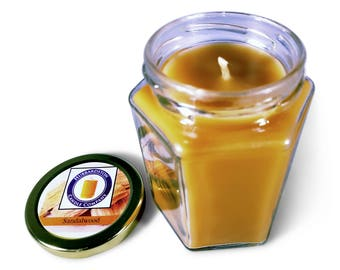 Sandalwood Scented 100% Pure Beeswax 8 oz Jar Candle, Natural Beeswax, Brown Candle, Smokeless Candle, Hand Poured by Hubbardston Candle Co
