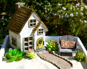 Miniature Garden Kit ~ Fairy Garden Kits ~ Starter Set ~ Cottage + Bench + Pillow + Walkway ~ Wood Planter Box Option ~ Plants NOT INCLUDED