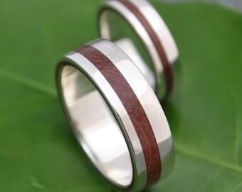 Equinox Guapinol Wood Ring with Recycled Sterling - ecofriendly wood wedding band, wood wedding ring, mens wood ring, wood wedding band set