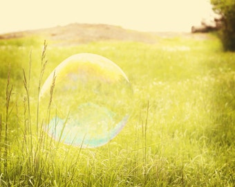 Bubble Photography - 8 X 10 Fine Art Photograph - Nature Photography, green photography, summer decor, grass, meadow, bubble art, nursery