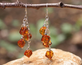 Earrings 925 Silver - amber faceted 7mm Silver Orange / Bronze