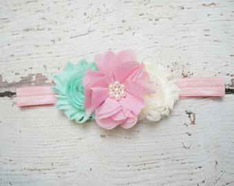 mint and pink baby headband, mint baby headband, shabby chic headband, girls newborn headband, toddler headband, vintage inspired colors