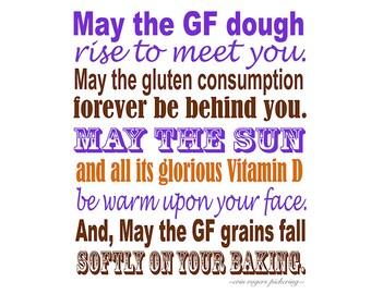 Gluten Free Irish Blessing Sampler in Purple, Brown and Orange 8x10 Kitchen Art