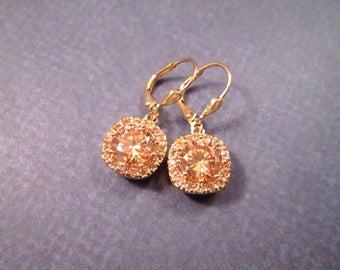 Cubic Zirconia Earrings, Peachy Pink and Gold Dangle Earrings, FREE Shipping U.S.