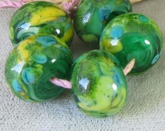 Sunshine Meadow Lampwork Spacer Handmade frit Glass Beads Blue Yellow Green 2-6 bead sets