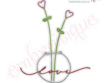 Tall Heart Flowers Love  -Instant Download Digital Files for Machine Embroidery