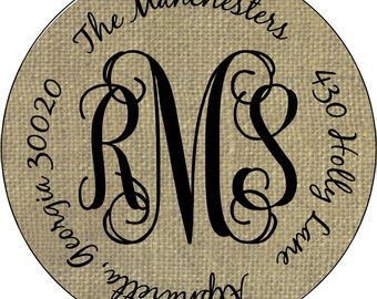 Burlap Mongram Personalized Round Address Labels Stickers for Gifts Party Favors Class Favors Graduation