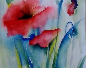 Original painting with poppies watercolor-original watercolour painting poppy
