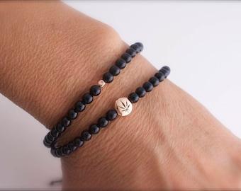 Double wrap weed onyx  bracelet  -  420 double bracelet - leaf  bracelet - weed gemstone bracelet - black onyx