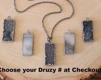 Sugar Druzy Necklace, Gray Crystal, Druzy Pendant, Black Crystal Necklace, Sterling Silver, Layer Necklace