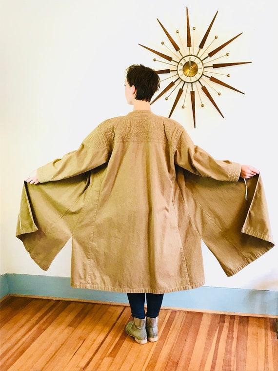 Brown Maxi Coat, High Nehru Collar, Vintage Duster, Oversized Long Jacket, Khaki Trench, Asian Tie wrap, Long overcoat, Full Flare Skirt