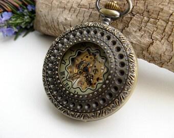 Captian's Pocket Watch, Mechanical Bronze Pocket Watch, Pocket Watch Chain Options - Groomsmens Gift - Men - Steampunk - Item MPW664
