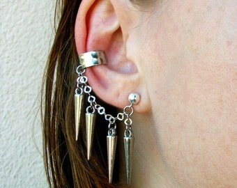 Silver-Spike-Ear Cuff / Free US Shipping