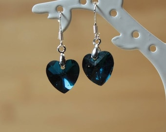Silver heart with blue crystal earrings