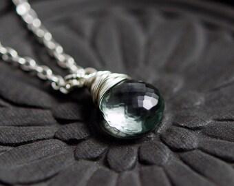 Fluorite Necklace, Sea Green Gemstone, Purple Gemstone, Violet Faceted Pendant Necklace, Sterling Silver