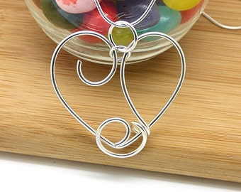 Large Silver Heart Necklace, Wire Heart Pendant, Sterling Silver Heart Jewelry