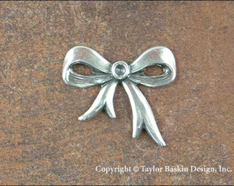 Antiqued Sterling Silver Plated Bow Charm (item 210 no loop AS) - 6 Pieces