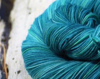 Handpainted Cushy Sock Yarn - Superwash Merino Wool, Bamboo, Nylon - Waves