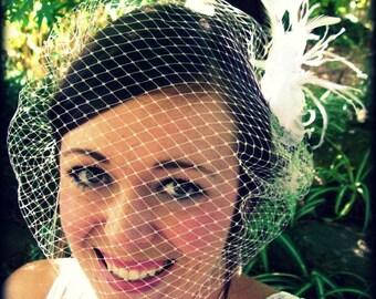 Bridal Birdcage Veil Bandeau 18 inch White, Ivory, or Black Retro