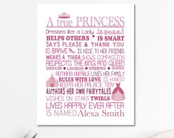 A true Princess, princess poster, girls room decor, princess decor, princess party, nursery decor, little girls room decor, be a princess
