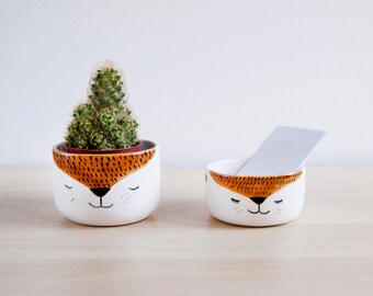 Cute ceramic fox desk accessories, Office decor ceramic organizer bowls, Handmade ceramics & pottery desk accessories, Fox home decor