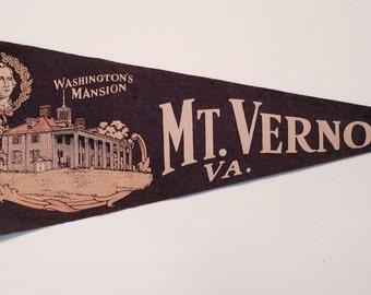 Vintage Souvenir Pennant from Washington's Mansion in Mt Vernon, Virginia 1940's