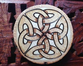 "3"" Holz verbrannt Magnet - handgefertigte Holz Magnet, Keltischer Knoten, böhmische Magnet"